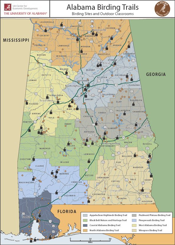 Map of Alabama showing eight birding regions and outdoor classroom locations
